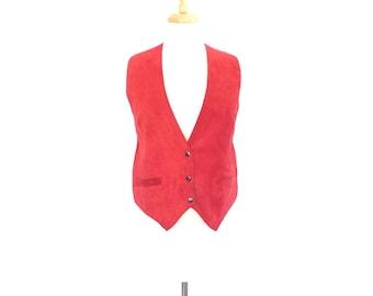 Red Suede Vest. Medium. Vintage 80s Women's Vest. Made in Canada