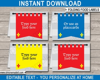 Medieval Food Labels - Knights Theme Party - Food Buffet Tag - Placecard - Printable Party Decorations - INSTANT DOWNLOAD with EDITABLE text
