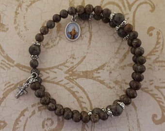Rosary Bracelet, Brown Snowflake Jasper, St Francis, San Damiano, Five Decade, Stainless Steel, Memory Wire, Gemstone, Wrapped Rosary