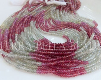 """14"""" strand UMBA SAPPHIRE smooth precious gem stone rondelle beads 3.5mm pink green"""