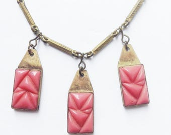 French 1930s Woman One of the Kind Art Deco Dangling Necklace - Unique Pink Milk Glass Pendants - Beautiful Vintage !