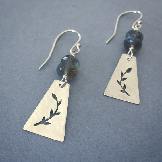 Silver Leaf Earrings with Labradorite