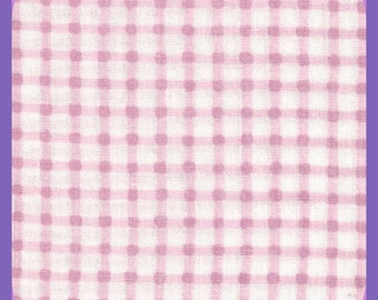 All Cotton GINGHAM Pink & White Fabric Remnant 1 Yard 44 Inch wide