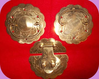 Vintage Asian Brass Chest Latch & Drawer Pulls Hardware Complete 1980's