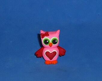 Polymer Clay Pink Valentine Heart Owl