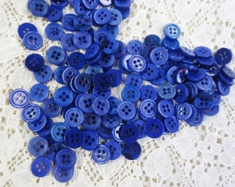 Blue Pearlized Buttons Bulk Lot Small 4 Hole 50 grams Indigo Tonal DIY Crafting Sewing