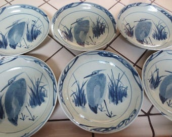 Vintage Asian Pottery Heron Bird Bowls Blue Set of 6 Earthenware Hand Painted Stoneware