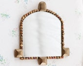 Boho Wall Mirror in Brass and Jobs Tears Seeds Frame - Rustic Home Decor