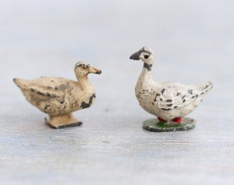 Goose and Duck Lead Animals - Antique Miniature Farm - Iron Cast Toy - Made in England - Timpo Toy