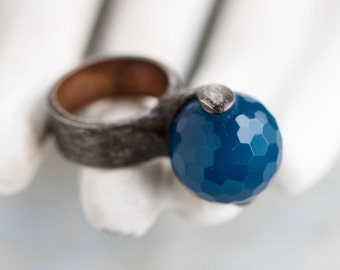 Blue Glass Ring - Sphere Statement Ring - Size 5.5