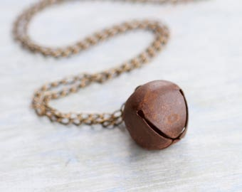 Antique Copper Bell Necklace - Patina Musical Pendant on Long Chain