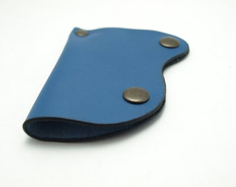 SALE Handmade blue genuine leather Key Holder / case/ keychain sweet mini bag ooak only one
