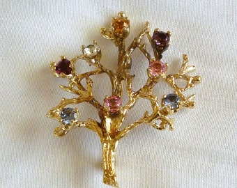 Vintage Sterling Tree of Life  Brooch with Colored Rhinestones, Gold Wash Tree of Life Jewelry
