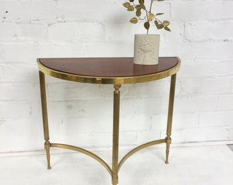 Vintage Demi Lune Holly wood regency occasional side table good quality Maison Bagues style