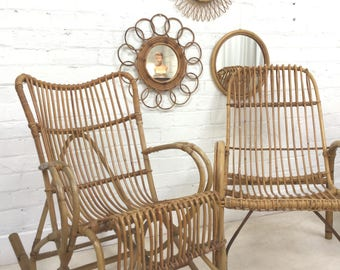 Two chairs Franco Albini Style Mid Century Rattan bent bamboo cane Rocking Chair & easy chair