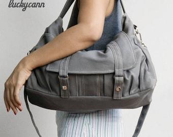 20% Easter On Sale ASTER // Dark Grey / Lined with Beige / 011 // Ship in 3 days // Messenger / Diaper bag / Shoulder bag / Tote bag / Purse