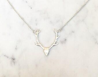 Deer Head Pendant Necklace ~ Silver