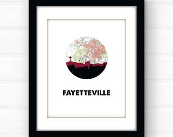Fayetteville, AR map art | Arkansas art print | Arkansas home decor | city skyline prints | travel poster | college dorm decorations