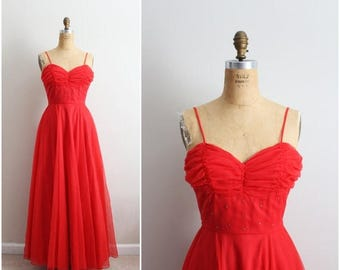 S a L E - Carmela Prom Dress / Bridemaids Dress / 50s Prom Dress / Red Cocktail Dress/ Size Xs/S
