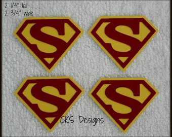 Die Cut Superhero SUPERMAN Tags Premade Paper Piecing Embellishment for Card Making Scrapbook or Paper Crafts
