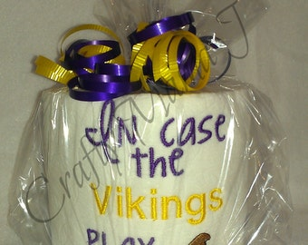 "Vikings  Team Embroidered Toilet Paper ""In Case The Vikings Play Like (Crap Image)"" Minnesota  Wisconsin. Made in Purple and Yellow"