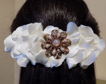 Large Barrette Flower for Thick Hair/ Womens Gift/French Barrette