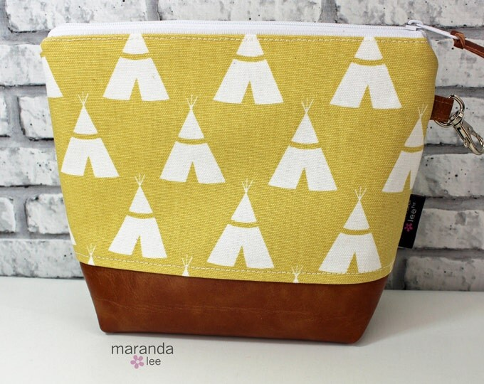 AVA Medium Clutch -Yellow Mustard Teepee  READY to SHIp