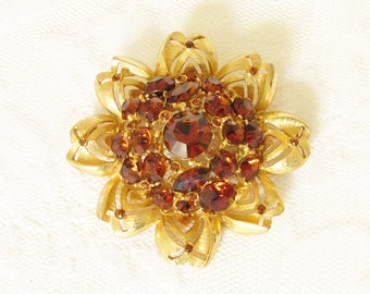 Vintage Weiss Amber Rhinestone Dome Flower Brooch signed