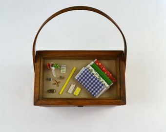 Vintage Wooden Sewing Box/Purse, Sewing Notions Diorama Shadow Box