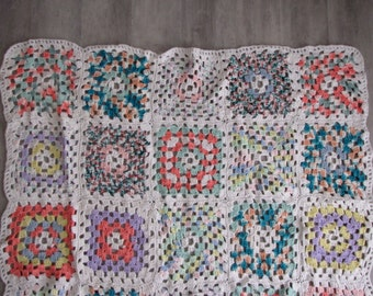 Vintage Pastel and Multi-Colored Granny Square Crocheted Afghan