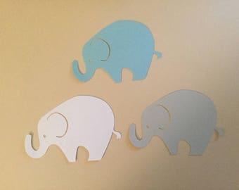 24 Extra Large Gray Blue White Elephant Cutout  Elephant Punch Elephant Die Cut Elephant Embellishment Elephant Cupcake Topper