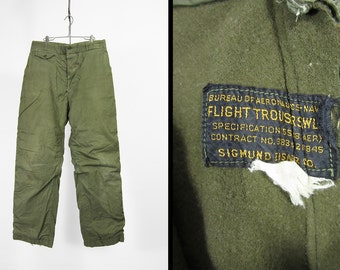 Vintage WW2 US Navy Flight Trousers Wool Lined Pants Olive Green 1940s Military - 32 x 32