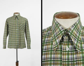 Vintage 70s Green Plaid Shirt NOS Long SLeeve Retro Collared Button Up - Size Medium