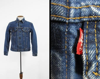 Vintage Levi's Big E Denim Jacket Faded Whiskered Type III Trucker - Size 40