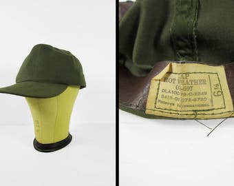 Vintage US Army Hot Weather Cap OD Green Brimmed Hat - Size 6 7/8