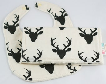 Deer Bib, Buck Bib, Baby Bib and Burp Cloth, Baby Gift Set, Boy Minky Bib, Woodland Baby Shower Gift, Hello Bear Buck Forest Night Antlers