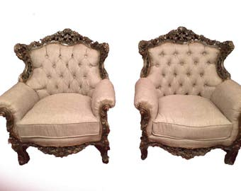 Pair of antique French chairs. Interior design. Atlanta shop.