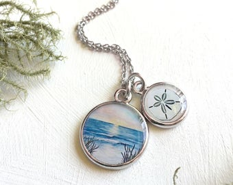 Beach Necklace | Ocean Jewelry | Sand Dollar Necklace | Art Jewelry