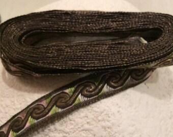 Vintage Antique Metallic Gold and Iridescent Rayon Trim, Vintage Ribbon, Vintage Edging