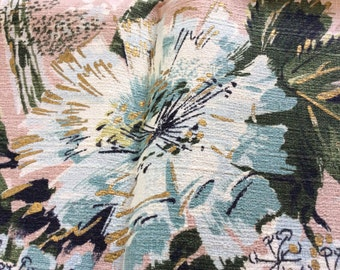 Vintage Floral Bark Cloth  Cotton Fabric, Vintage Textiles, Vintage Fabric, Vintage Large Print Fabric, Repurpose Fabric, Upholstery Fabric