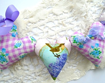 Pillow Hearts Birdie Garland / Spring Bird Garland / Vintage Purple Fabric / Lilacs / String Hearts / Heart Banner / Shabby Cottage Decor