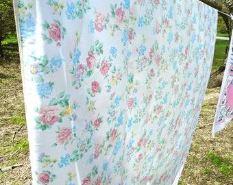 Vintage Pink Rose Sheet / Aqua Blue Flower Sheet / Twin Fitted Sheet / Floral Bedding / Girls Bedding / Cotton Blend /