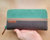 Waxed canvas wallet / turquoise linen and grey waxed canvas wallet-gift for her- gift for wife