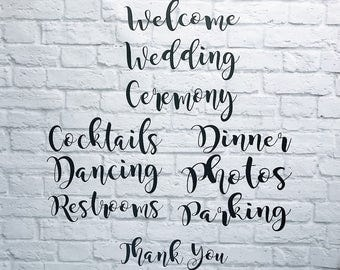 Wedding Signs DIY Vinyl Decals Set of 10 Custom Sizing Available