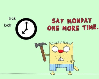 Funny mug print with grumpy orange cat baseball bat and wall clock