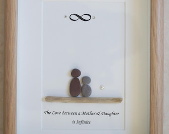 Pebble Art framed Picture- The Love between a Mother & Daughter is Infinite