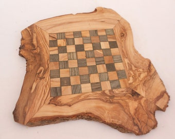 Chess Set with Natural Edges, Boyfriend Gift, Unique Olive Wood Rustic Chess Board