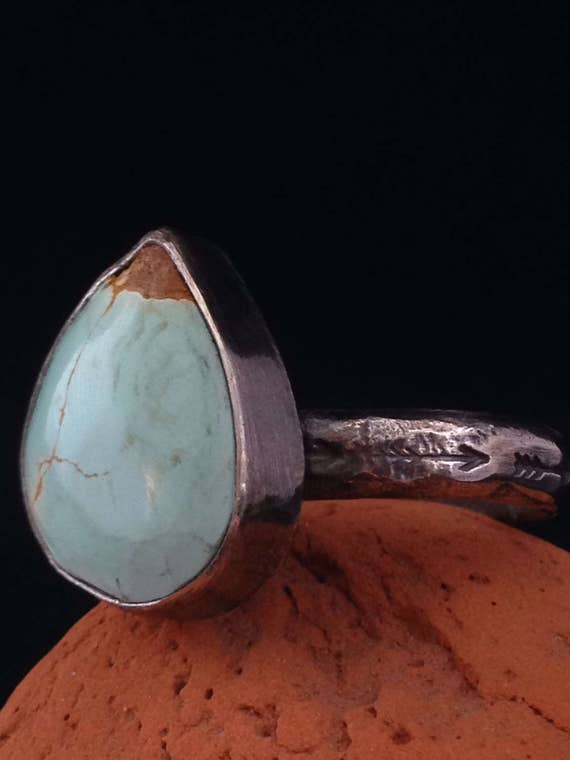 Handmade, One of a Kind, Baby Blue Turquoise Ring, Sterling Silver, Hammered, Arrow Stamped Band, Southwestern Jewelry