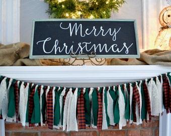 Plaid Christmas Decor - Christmas Mantle - Holiday Party Decor - Plaid Christmas Garland - Christmas Garland - Christmas Banner - Holiday