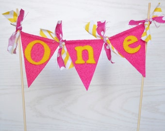 Cake Topper Banner - Cake Bunting - Cake Banner - ONE Cake Topper - you are my sunshine party - cake topper one - cake topper birthday